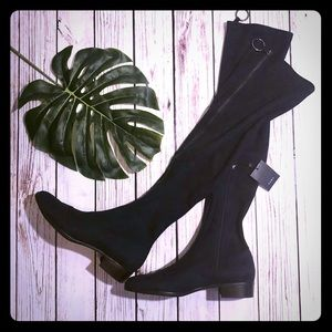ZARA NAVY BLUE SUEDE OVER THE KNEE STRETCH BOOTS